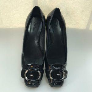 Cole Haan Nike Air Black leather flats Sz 9B